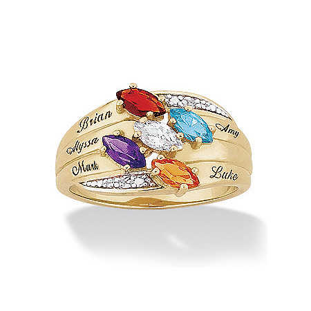 14k Gold-Plated Marquise Birthstone & Name Family Ring with Diamond Accent at PalmBeach Jewelry