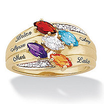 14k Gold-Plated Marquise Birthstone & Name Family Ring with Diamond Accent