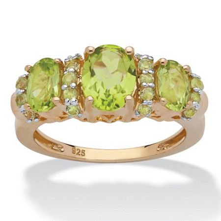 3.03 TCW Round and Oval-Cut Genuine Green Peridot Classic-Style Ring in 14k Gold over Sterling Silver at PalmBeach Jewelry