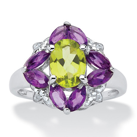 Oval-Cut Genuine Peridot, Amethyst and Diamond Accent Ring in .925 Sterling Silver 2.56 TCW at PalmBeach Jewelry