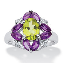 Oval-Cut Genuine Peridot, Amethyst and Diamond Accent Ring in .925 Sterling Silver 2.56 TCW