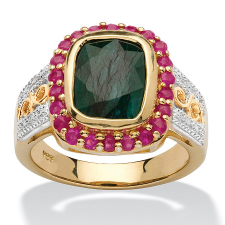 3.49 TCW Cushion-Cut Genuine Emerald and Ruby 14k Gold over Silver Two-Tone Halo Ring at PalmBeach Jewelry