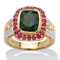 3.49 TCW Cushion-Cut Genuine Emerald and Ruby 14k Gold over Silver Two-Tone Halo Ring