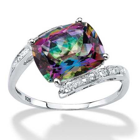 6.56 TCW Oval-Cut Genuine Fire Topaz Bypass Ring in Sterling Silver at PalmBeach Jewelry