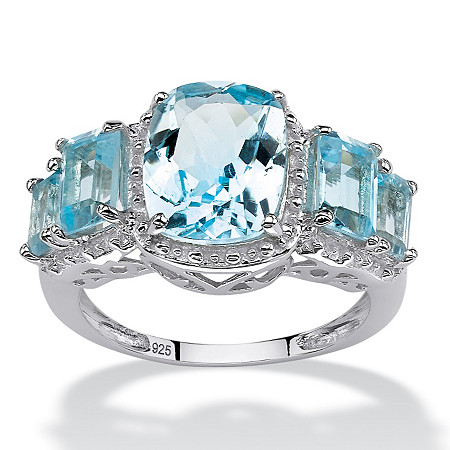 5.30 TCW Cushion and Emerald-Cut Genuine Blue Topaz Ring in .925 Sterling Silver at PalmBeach Jewelry