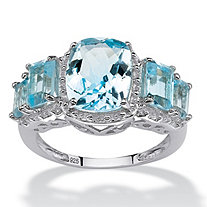 5.30 TCW Cushion and Emerald-Cut Genuine Blue Topaz Ring in .925 Sterling Silver