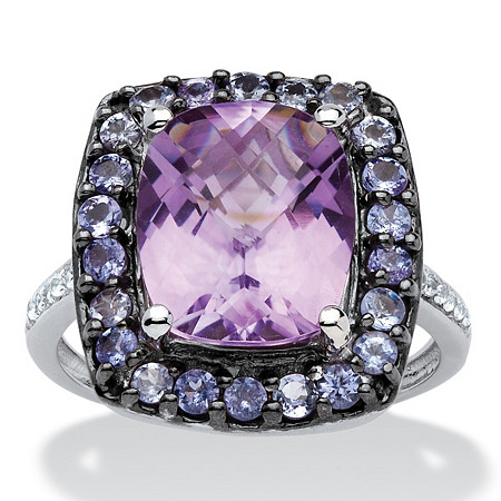 5.60 TCW Genuine Amethyst, Tanzanite and Topaz Halo Ring in Black Ruthenium over Sterling Silver at PalmBeach Jewelry