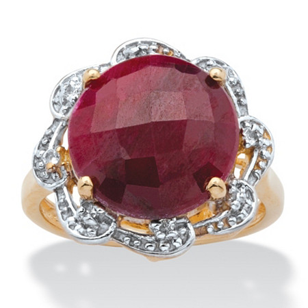 10.16 TCW Checkerboard-Cut Genuine Ruby and Topaz Accent Ring in 14k Gold over Sterling Silver at PalmBeach Jewelry
