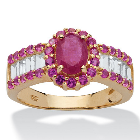 3.15 TCW Oval-Cut Genuine Ruby and White Topaz Ring in 14k Gold over Sterling Silver at PalmBeach Jewelry