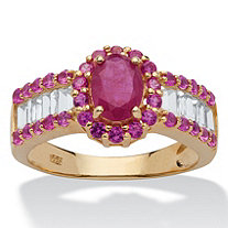SETA JEWELRY 3.15 TCW Oval-Cut Genuine Ruby and White Topaz Ring in 14k Gold over Sterling Silver