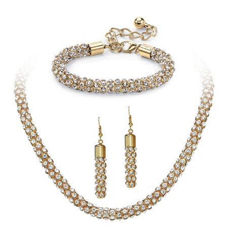 Crystal Rope Necklace, Bracelet and Drop Earrings Set in Gold Tone at PalmBeach Jewelry