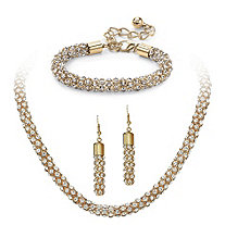 Crystal Rope Necklace, Bracelet and Drop Earrings Set in Gold Tone