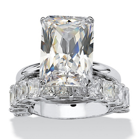 9.00 TCW Emerald-Cut Cubic Zirconia Platinum-Plated Bridal Engagement Ring Wedding Band Set at PalmBeach Jewelry