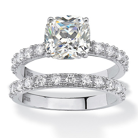 Cushion-Cut Cubic Zirconia Bridal Engagement Ring Set 2.45 TCW in Platinum over Sterling Silver at PalmBeach Jewelry