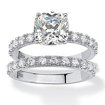 Cushion-Cut Cubic Zirconia Bridal Engagement Ring Set 2.45 TCW in Platinum over Sterling Silver