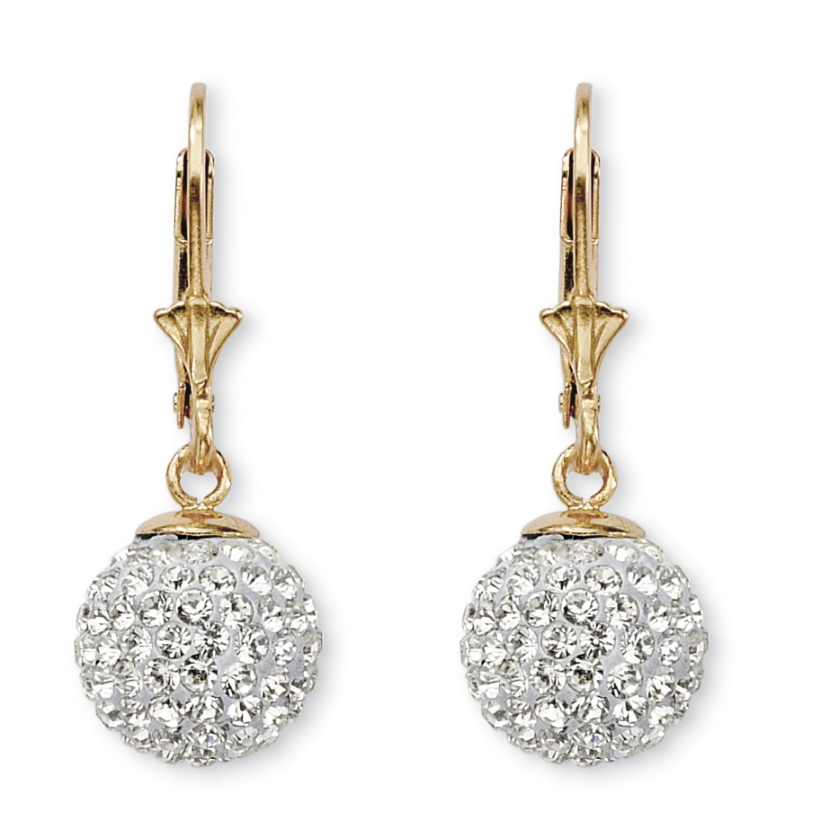 Round Crystal 18k Gold Over Sterling Silver Ball Drop