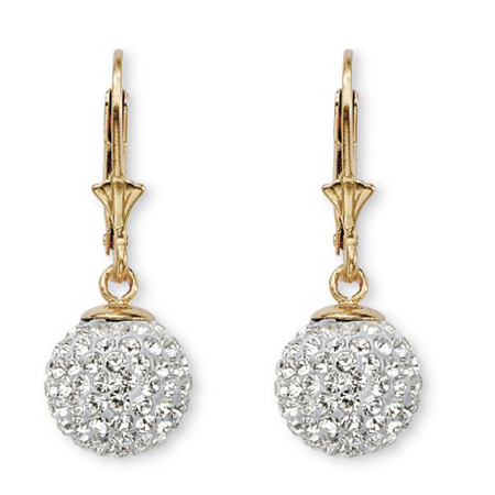 Round Crystal 18k Gold over Sterling Silver Ball Drop Earrings at PalmBeach Jewelry