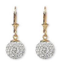 SETA JEWELRY Round Crystal 18k Gold over Sterling Silver Ball Drop Earrings