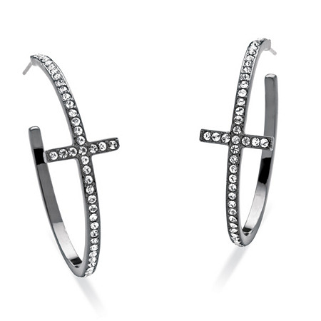 Round Crystal Cross Hoop Earrings Black Rhodium-Plated at PalmBeach Jewelry