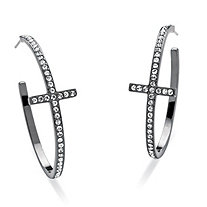 "Round Crystal Cross Hoop Earrings Black Rhodium-Plated (1 1/2"")"