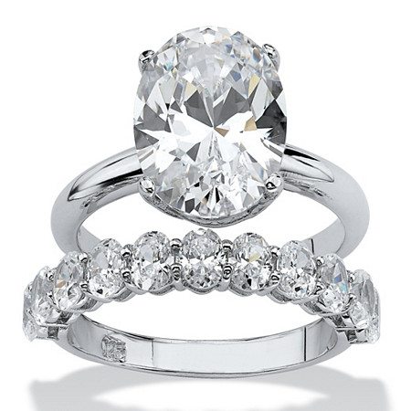6.91 TCW Oval-Cut Cubic Zirconia Platinum over Sterling Silver Wedding Band Set at PalmBeach Jewelry