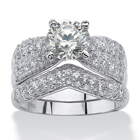 3.20 TCW Cubic Zirconia Platinum over Sterling Silver Wedding Ring Set at PalmBeach Jewelry