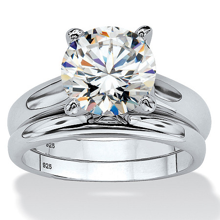 3 TCW Round Cubic Zirconia Solitaire Two-Piece Bridal Set in Platinum over .925 Sterling Silver at PalmBeach Jewelry