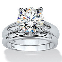 SETA JEWELRY 3 TCW Round Cubic Zirconia Solitaire Two-Piece Bridal Set in Platinum over .925 Sterling Silver