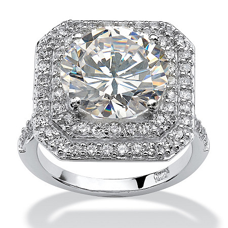 7.28 TCW Round Cubic Zirconia Platinum over .925 Sterling Silver Engagement Ring at PalmBeach Jewelry