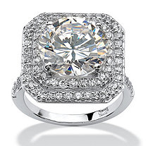 7.28 TCW Round Cubic Zirconia Platinum over .925 Sterling Silver Engagement Ring