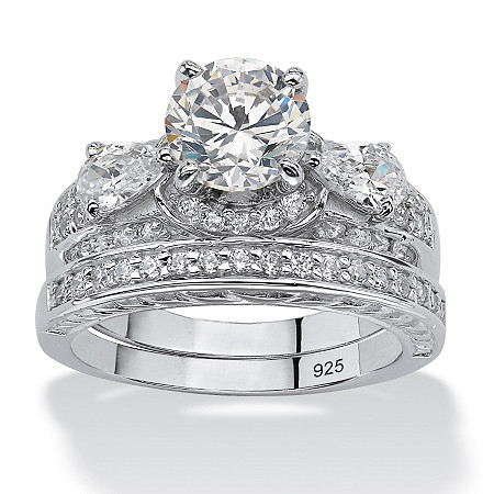 3.47 TCW Round Cubic Zirconia Two-Piece Bridal Set in Platinum over Sterling Silver at PalmBeach Jewelry