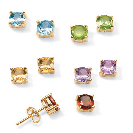 4.92 TCW 5-Pair Set of Genuine Multi-Gemstone Stud Earrings in 18k Gold over .925 Sterling Silver at PalmBeach Jewelry