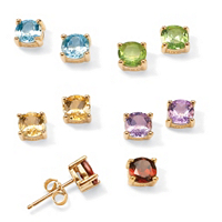 5-Pair Set Of Genuine Multi-Gemstone Stud Earrings ONLY $39.99