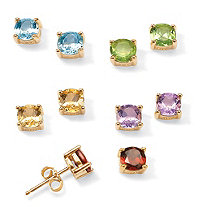 SETA JEWELRY 4.92 TCW 5-Pair Set of Genuine Multi-Gemstone Stud Earrings in 18k Gold over .925 Sterling Silver