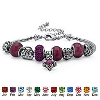 "Birthstone Bali-Style Beaded Charm and Spacer Bracelet in Silvertone 8""-10"""