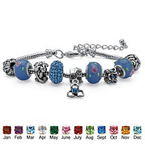 Birthstone Bali-Style Beaded Charm and Spacer Bracelet in Silvertone 7""