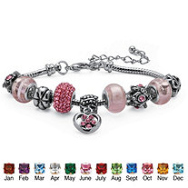 """Birthstone Bali-Style Beaded Charm and Spacer Bracelet in Silvertone 7"""""""
