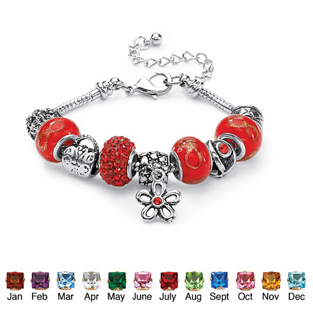 """Simulated Birthstone Bali-Style Beaded Charm and Spacer Bracelet in Silvertone 8""""-10"""" at PalmBeach Jewelry"""