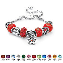 "Simulated Birthstone Bali-Style Beaded Charm and Spacer Bracelet in Silvertone 8""-10"""