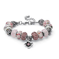 Round Pink Crystal Silvertone Bali-Style Beaded Charm and Spacer Bracelet 8