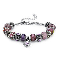 Round Purple Crystal Silvertone Bali-Style Beaded Charm and Spacer Bracelet 8""