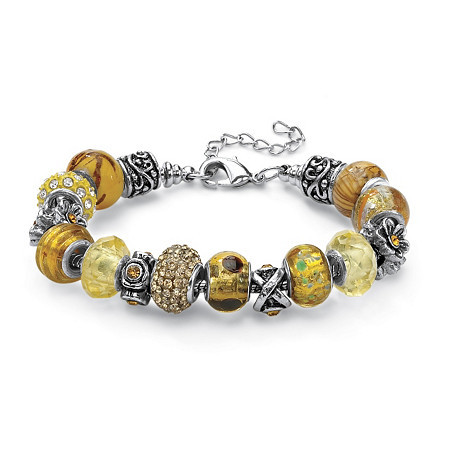 "Round Amber Crystal Bali-Style Beaded Charm and Spacer Bracelet in Silvertone 8"" at PalmBeach Jewelry"