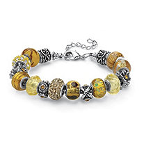 Round Amber Crystal Bali-Style Beaded Charm and Spacer Bracelet in Silvertone 8""