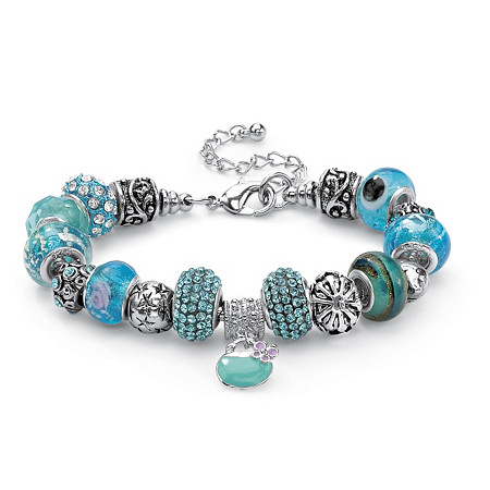 "Round Blue Crystal Bali-Style Beaded Charm Bracelet in Silvertone 8"" at PalmBeach Jewelry"