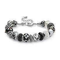 SETA JEWELRY Round Black and White Crystal Silvertone Bali-Style Beaded Charm and Spacer Bracelet 8