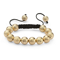 Textured Ball Beaded Bracelet In Yellow Gold Tone And Macrame Rope ONLY $5.99
