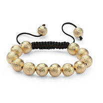 Textured Ball Beaded Bracelet in Yellow Gold Tone and Macrame Rope 8""