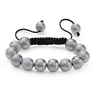 "Matte Silvertone Black Macrame Rope Tranquility-Style Beaded Bracelet 8"""