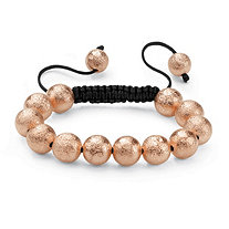Rose Gold Tone Black Macrame Rope Tranquility-Style Beaded Bracelet 8