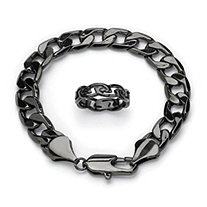 "Barbed Wire Ring and Curb-Link Bracelet Set in Black Ruthenium-Plated and Black Ion-Plated Stainless Steel 9"" (12mm)"